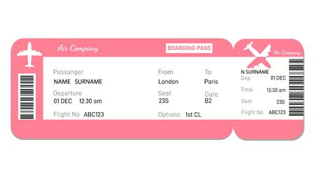 Airline boarding pass ticket in red colors.  Concept  for travel, business trip or journey.Plane ticket.
