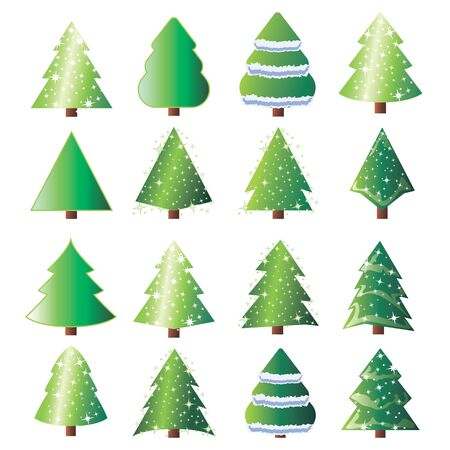 Set of Christmas tree vector icon.  New Years tree with heralds,  2020 winter holidays party green fir with garland decoration. Cute Christmas trees with toys and snow. New year decorations.