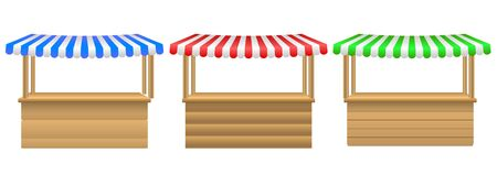 Street stall with awning.  Realistic wooden counter with canopy for street trading.  set of awing with wooden market stand stall and various kiosk. Cafe tent, shop roof.