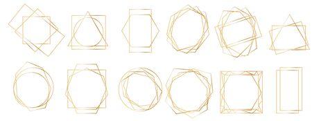 Golden geometric frames. Geometrical polyhedron, art deco style for wedding invitation, luxury templates, decorative patterns. Realistic 3d Detailed Golden Polygonal Frames Thin Line Set