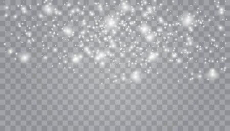 Xmas snow flake pattern. Magic white snowfall texture. Winter snowstorm.  Many white cold flake elements on transparent background.