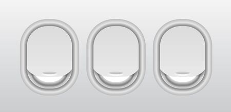 Aircraft windows with curtains in different positions and blank copyspace inside. Three realistic portholes of airplane from plastic with open and closed windows.  イラスト・ベクター素材