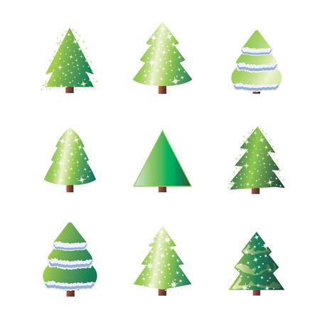 Winter colorful cartoon.  Winter holiday illustration with fir pine tree and snow. New Year or xmas symbol.  イラスト・ベクター素材
