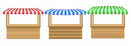 Street stall with awning.Market stall set. Realistic wooden counter with canopy for street trading. Cafe tent, shop roof.