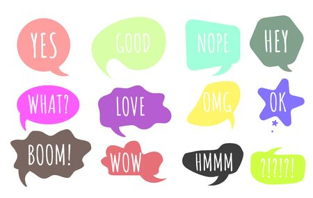 Bubble talk phrases. Online chat clouds with different words comments.Chat balloons. Hand drawn set of colorful speech bubbles with dialog words.Chat messages.