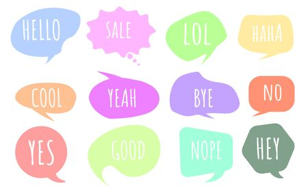 Colorful questions speech bubbles set in flat design. Bubble talk phrases. Online chat clouds with different words comments. Chat messages. Chat balloons. Vector  イラスト・ベクター素材