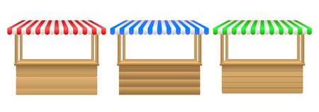 Street stall with awning.Market stall set. Realistic wooden counter with canopy for street trading.  set of awing with wooden market stand stall and various kiosk.