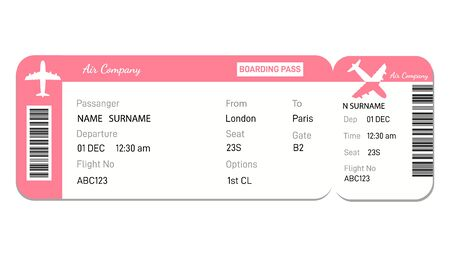Airline boarding pass ticket in red colors. Plane ticket. online Booking airline ticket concept. Vector