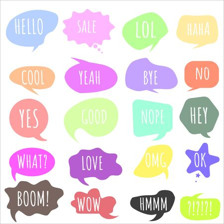 Bubble talk phrases. Online chat clouds with different words comments. Hand drawn set of colorful speech bubbles with dialog words.Chat messages. Chat balloons. Vector