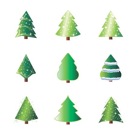 Winter colorful cartoon.  Winter holiday illustration with fir pine tree and snow. New Year or xmas symbol. Vector design for december celebration in cartoon style.
