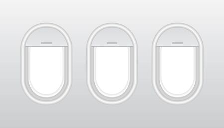 Aircraft windows with curtains in different positions and blank copyspace inside. Plastic or glass plane windows 3d vector. usable for banners, brochures in tourism theme