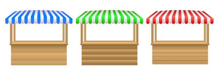 Street stall with awning.Market stall set. Realistic wooden counter with canopy for street trading.  set of awing with wooden market stand stall and various kiosk. Cafe tent, shop roof.
