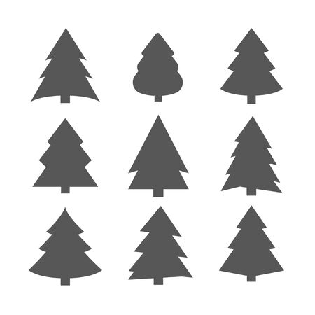 Christmas Trees Set, Black Pictogram. Abstract Christmas Tree Icons. White Silhouette Set. decorated conifer outline and filled vector sign  イラスト・ベクター素材