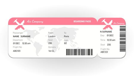 Airline boarding pass ticket in red colors. Concept for travel, business trip or journey.Plane ticket. online Booking airline ticket concept.