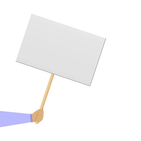 Protester banner. Empty protest sign on wood stick isolated clipart on white background.  Poster empty, protest announcement board. Protester on strike. 向量圖像