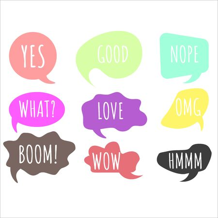 Colorful questions speech bubbles set in flat design. Bubble talk phrases. Online chat clouds with different words comments.