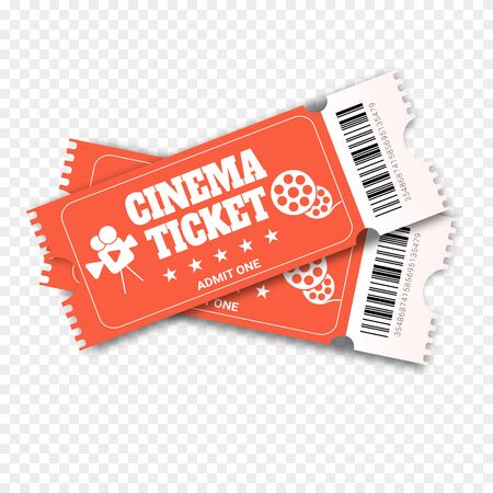 Two cinema vector tickets. Realistic front view illustration. Close up top view on two designed movie tickets.Cinema, theater, concert, play, party, event, festival Illustration