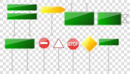 Set of road signs isolated on transparent background.Blank street traffic and road signs vector set isolated. Road signs vector red and yellow empty banners road sign mock up with place for text Illustration