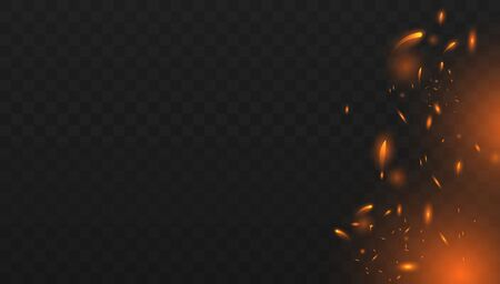 Red Fire sparks vector flying up. Realistic isolated fire effect with smoke for decoration and covering on the transparent background. Red and yellow light effect. Concept of sparkles, flame and light.