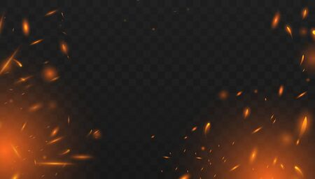 Il vettore di scintille di fuoco rosso vola in alto. Particelle incandescenti che bruciano. Effetto fuoco isolato realistico con fumo per decorazione e copertura sullo sfondo trasparente. Effetto luce rossa e gialla. Concetto di scintillii, fiamma e luce. Illustrazione vettoriale Eps10 Vettoriali