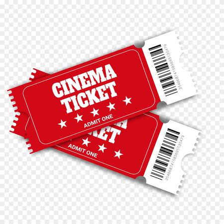 Two cinema vector tickets isolated on white background. Realistic front view illustration. Close up top view on two designed movie tickets.Cinema, theater, concert, play, party, event, festival black and gold ticket realistic template set
