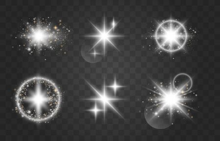 Glow special effect light, flare, star and burst. Sparkling magical dust particles. Bright Star. Transparent shining sun, bright flash. Special effect isolated on transparent background