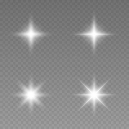 Glowing lights effect, flare, explosion and stars. Set of white glowing lights effects existing on a transparent background.Sun flash with rays and spotlight. Glow light effect. Star burst with sparkles. Иллюстрация