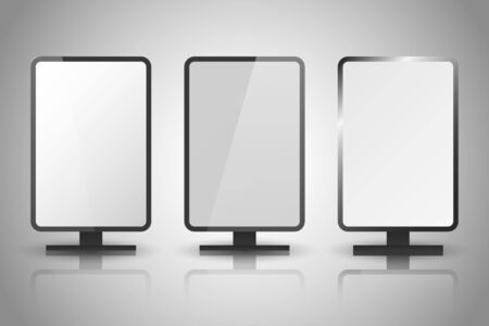 Light boxes. Retail lighting 3d billboards, retro cinema signs. Illuminated lightbox with empty space for design. Signboard and announcement lightbox screen illustration