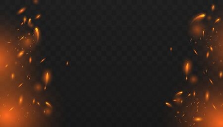 Red Fire sparks vector flying up. Burning glowing particles. Realistic isolated fire effect with smoke for decoration and covering on the transparent background.  Concept of sparkles, flame and light.