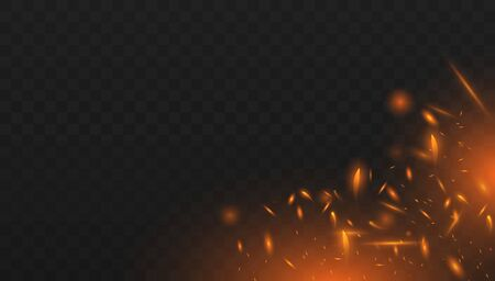 Red Fire sparks vector flying up. Realistic isolated fire effect with smoke for decoration and covering on the transparent background. Concept of sparkles, flame and light.