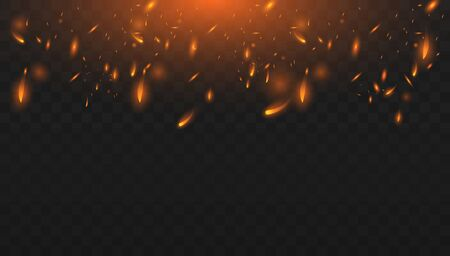 Red Fire sparks vector flying up. Burning glowing particles. Realistic isolated fire effect.  Concept of sparkles, flame and light.