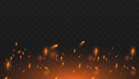 Red Fire sparks vector flying up. Burning glowing particles. Realistic isolated fire effect with smoke for decoration and covering on the transparent background.