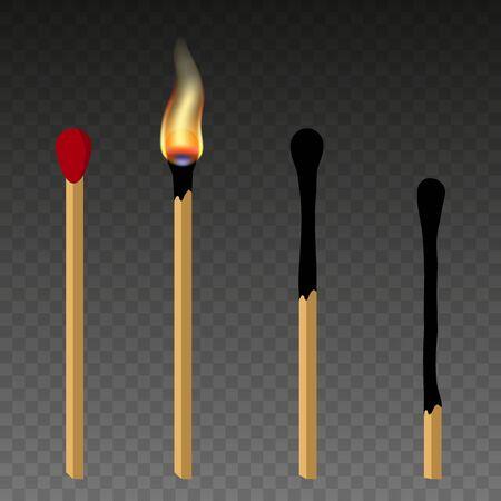 Fósforos, fósforo encendido y fósforo quemado. Cerilla encendida con fuego, caja de cerillas abierta, cerilla quemada. Estilo de diseño plano. Ilustración de vector