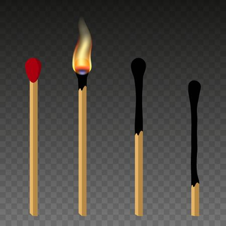 Matches, lighted match and burned match. Burning match with fire, opened matchbox, burnt matchstick. Flat design style. Vetores
