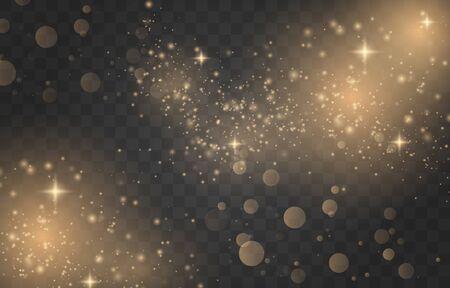 Scintille bianche e stelle dorate brillano. Effetto luce magica bagliore. Polvere di stelle. Vettoriali