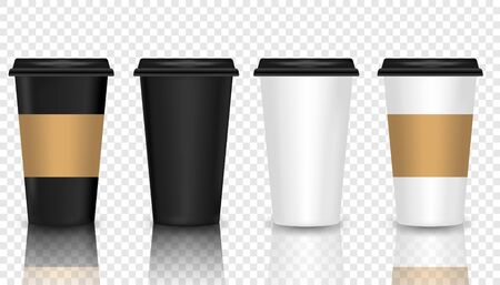 Set of Coffee Cup - Mockup template for Cafe, Restaurant brand identity design.  Vector realistic 3d paper coffee cup icon set closeup on transparency grid background. Stok Fotoğraf - 137846848