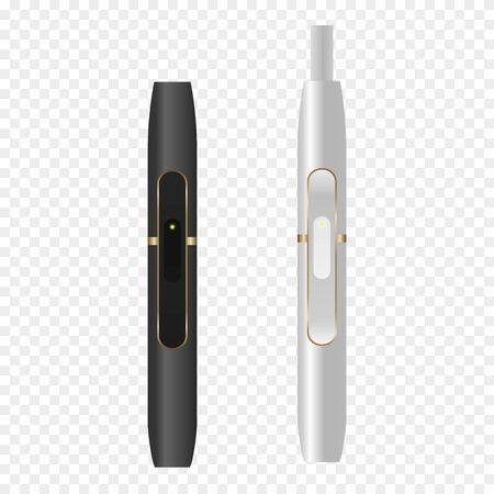 Smoking, white device, heating tobacco system. Electronic cigarettes permitted sign.  Realistic illustration