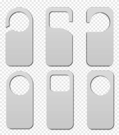 Realistic hotel room hangers vector icon.  Blank Paper Plastic Door Handle Lock Hangers Isolated on Background. Isolated Vector Illustration