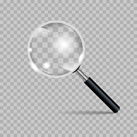 Magnifying glass realistic isolated on checkered background. Vector illustration 向量圖像