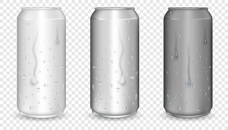 Blank  can mock up with condensation droplets. Metallic cans for beer, soda, lemonade, juice, energy drink.