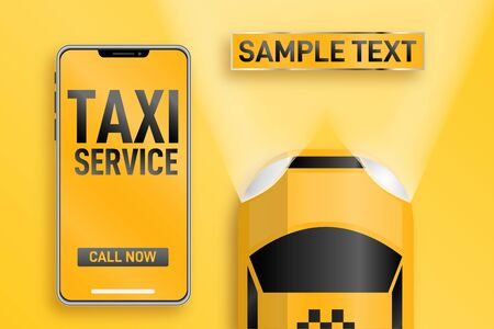 Taxi service. Online mobile application order taxi service horizontal illustration