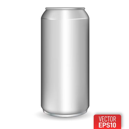 Realistic aluminium can, soda drink container. Vector realistic blank metallic can isolated on white background