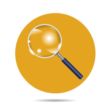 Realistic Magnifying Glass on white background. Search loupe on color background. Vector illustration Ilustração