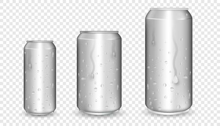 Realistic aluminum cans. Metallic cans. Aluminum bear soda and lemonade cans with water drops, energy drink blank mockup.