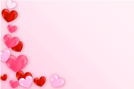 Heart flying on pink background. Happy Women's, Mother's, March 8, Valentine's Day, birthday greeting card design.