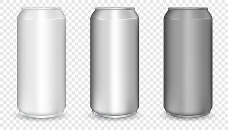 Realistic 3d empty glossy metal white, black and silver aluminium beer pack or can set. Aluminum bear soda and lemonade cans, energy drink blank mockup.