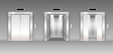 Chrome metal office building elevator doors. Open, closed and half closed variant.  Glossy flooring in empty corridor 3d realistic