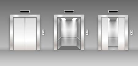 Puertas de ascensor de edificio de oficinas de metal cromado. Variante abierta, cerrada y semicerrada. Piso brillante en pasillo vacío 3d realista