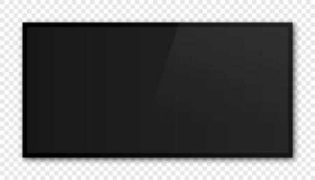 Modern black tv frame with blank screen vector mockup.