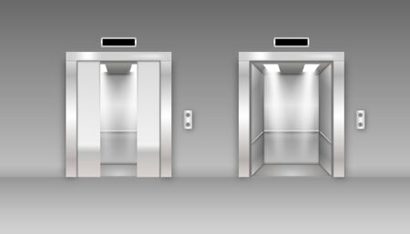 Realistic 3d Detailed Elevator with Opened and Half Closed Metal Doors. Metallic cabins doors, floor indicators
